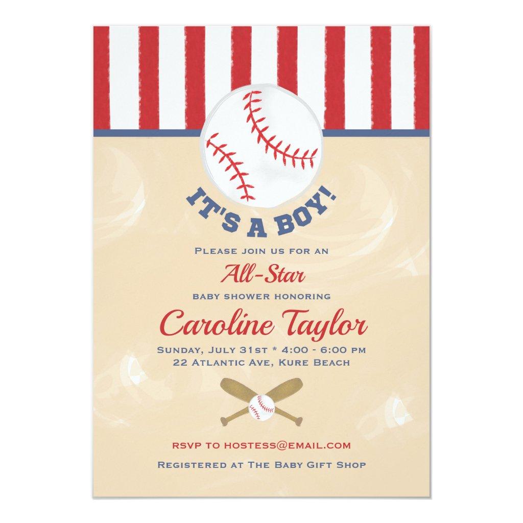 Baseball Baby Shower Invitation Classic Red & Blue