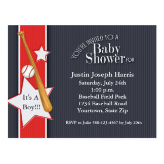 Baseball Baby Shower Invitation Navy Red Postcard