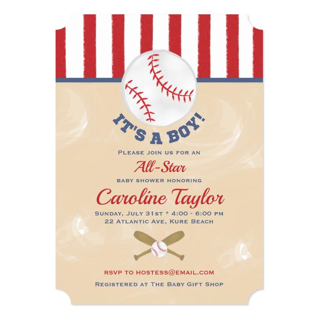 Baseball Baby Shower Invitation Ticket Style