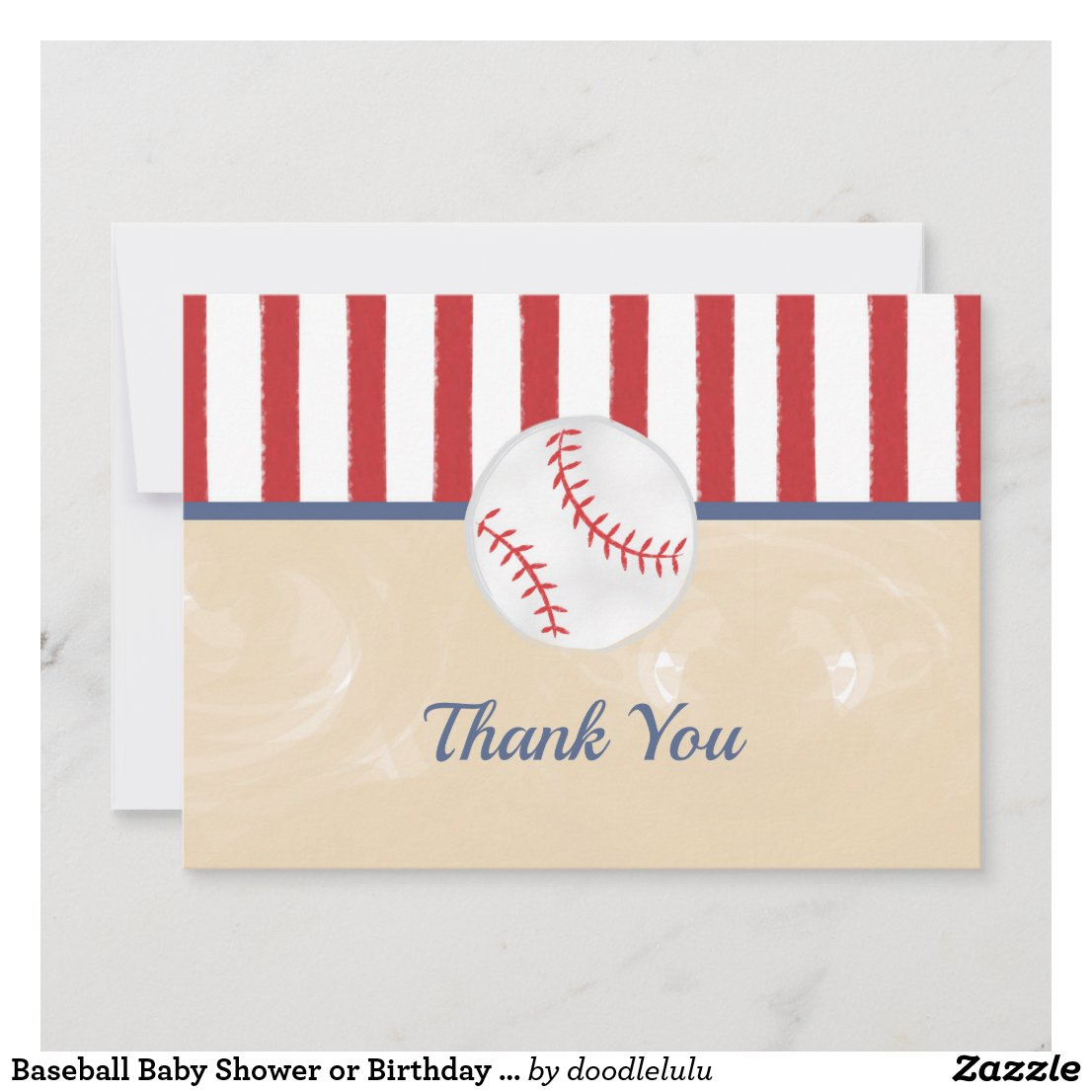 Baseball Baby Shower or Birthday Thank You Card