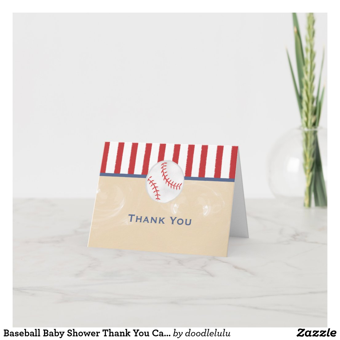Baseball Baby Shower Thank You Card