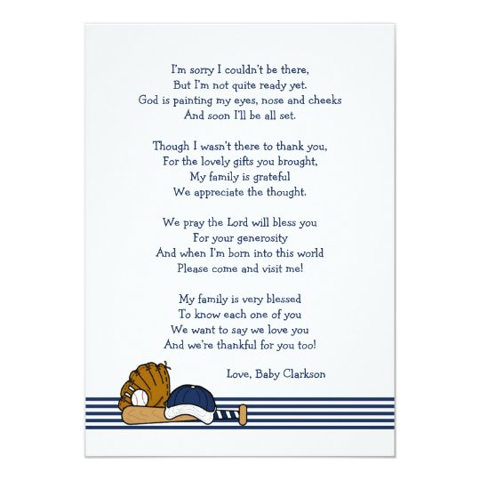 Baseball Baby Shower Thank You Note With Poem Card