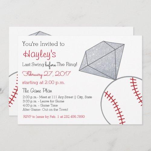 Baseball Bachelorette Party Invite- Last Swing