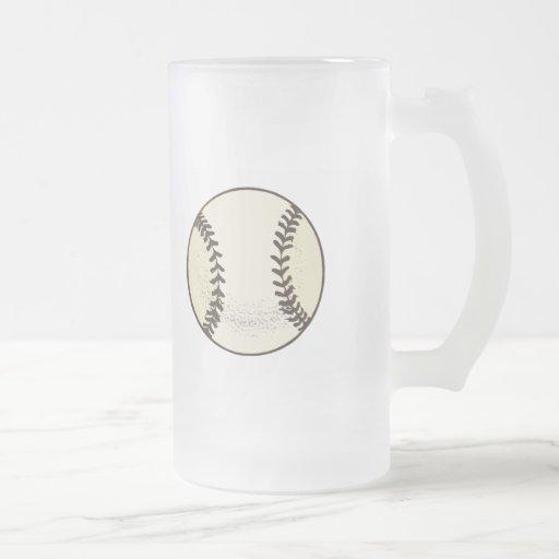 Baseball Ball 16 Oz Frosted Glass Beer Mug