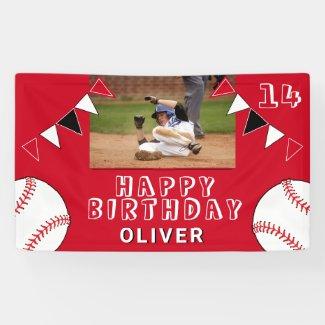 Baseball Ball Bunting Flags Red Photo Birthday Banner