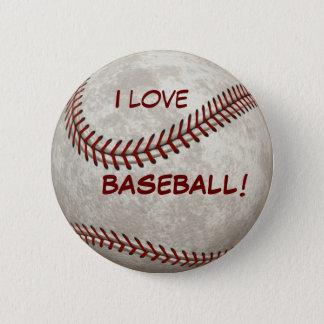 """Baseball Ball Game """"I Love BASEBALL!"""" Sports Button"""