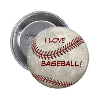 "Baseball Ball Game ""I Love BASEBALL!"" Sports 2 Inch Round Button"