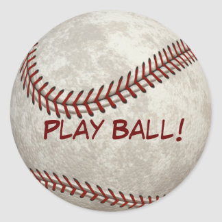 """Baseball Ball Game """"Play Ball!"""" American Past-time Classic Round Sticker"""