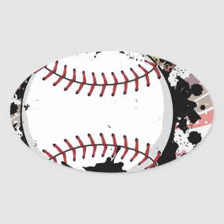 Baseball Ball on Background with Rays4 Oval Sticker