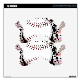 Baseball Ball on Background with Rays4 PS3 Controller Decal