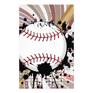 Baseball Ball on Background with Rays4 Stationery