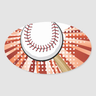 Baseball Ball on Background with Rays Oval Sticker