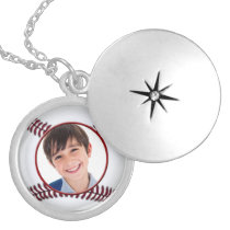 baseball  ball photo frame necklace