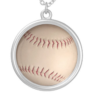 baseball  ball silver plated necklace