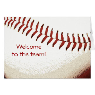 baseball ball stitching welcome to the team card