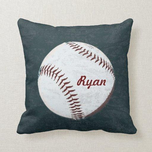 Baseball ball - vintage styled throw pillow