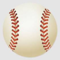 Baseball Balls Sports Pattern Classic Round Sticker