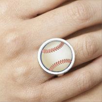 Baseball Balls Sports Pattern Ring