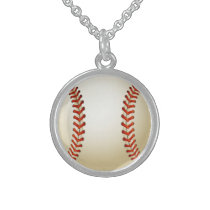 Baseball Balls Sports Pattern Sterling Silver Necklace