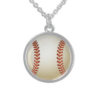 Baseball Balls Sports Pattern Sterling Silver Necklace