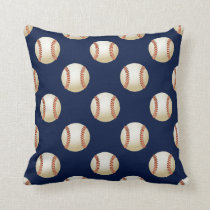 Baseball Balls Sports Pattern Throw Pillow
