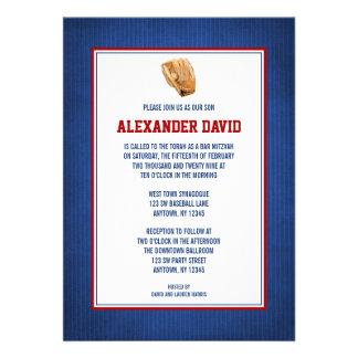 Baseball Bar Mitzvah Red Blue Invitations Invite