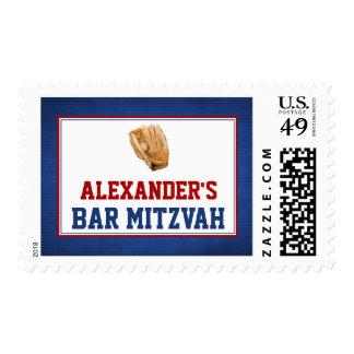 Baseball Bar Mitzvah Red Blue Stamp