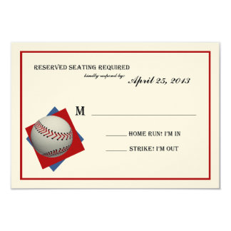 Baseball Bar Mitzvah Reply on Felt Card