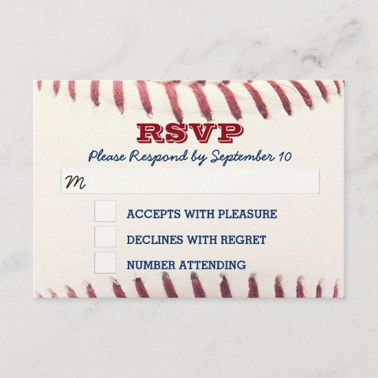 Baseball Bar Mitzvah RSVP Card