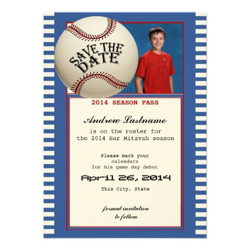 Baseball Bar Mitzvah Save the Date Personalized Invitations