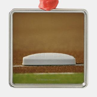 Baseball base square metal christmas ornament