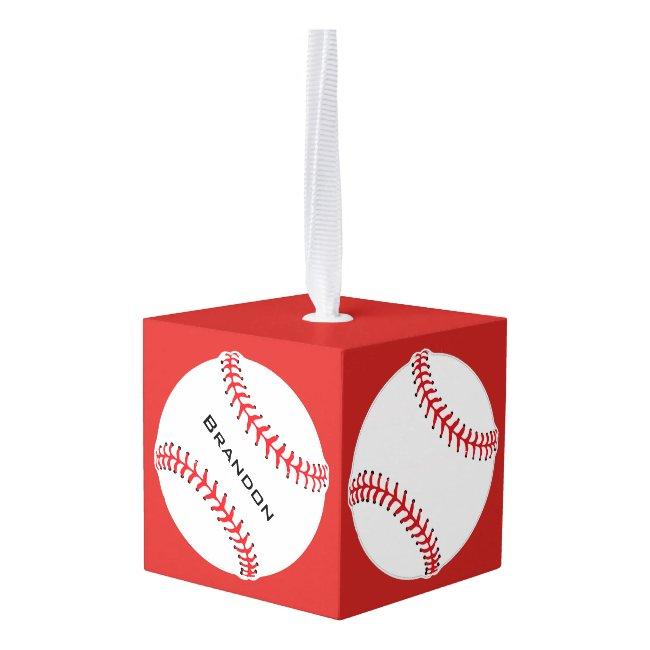 Baseball Baseballs Design Cube Ornament