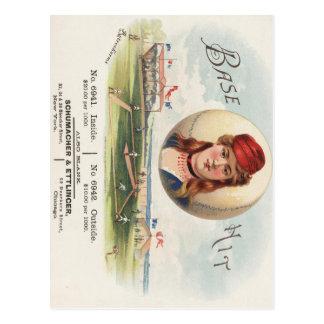 Baseball bases Hit song Vintage From Havana Postcard