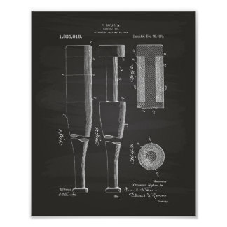 Baseball Bat 1919 Patent Art - Chalkboard Poster