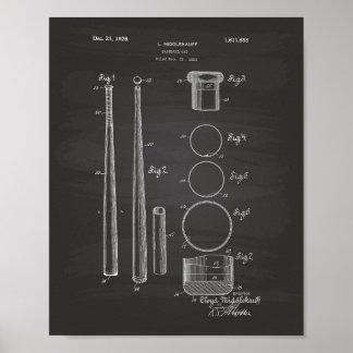 Baseball Bat 1926 Patent Art - Chalkboard Poster