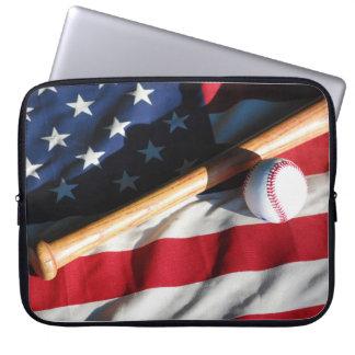 Baseball, Bat and American Flag Laptop Sleeve