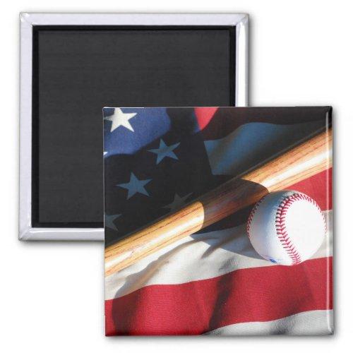 Baseball Bat and American Flag Magnet