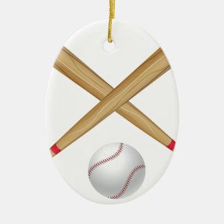 Baseball Bat and Ball Ceramic Ornament