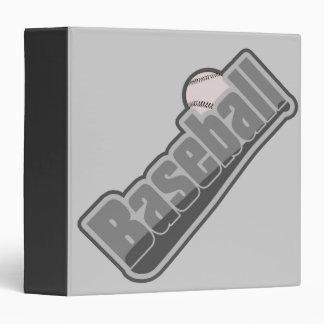 Baseball Bat and Ball Grey Binder
