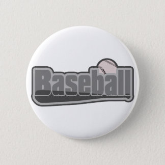 Baseball Bat and Ball Grey Pinback Button