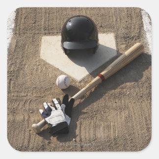 Baseball, bat, batting gloves and baseball square sticker