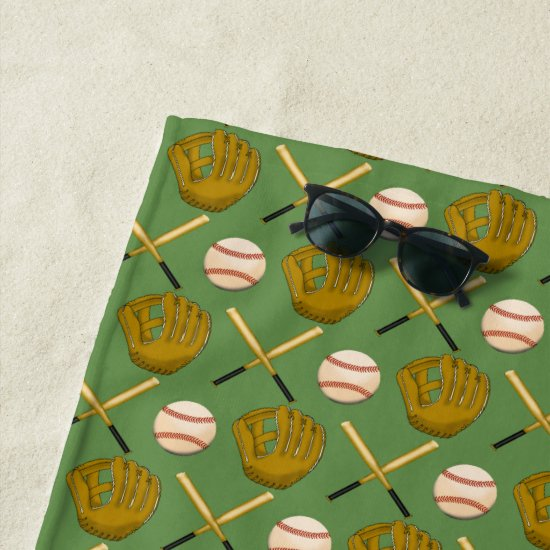 Baseball Bat, Glove & Ball Beach Towel