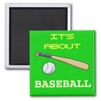 Baseball Bat n Ball 2 Inch Square Magnet