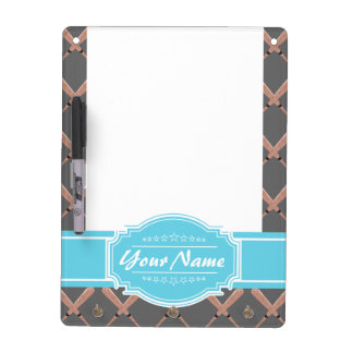 Baseball Bat Pattern in Gray Personalized Dry Erase Board