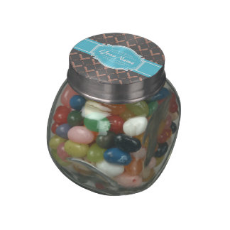 Baseball Bat Pattern in Gray Personalized Glass Candy Jar