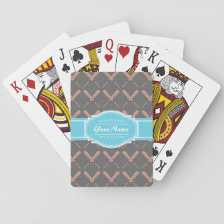 Baseball Bat Pattern in Gray Personalized Playing Cards