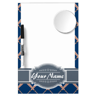Baseball Bat Pattern in Navy Personalized Dry Erase Board With Mirror