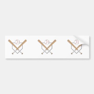 baseball bats and home plate graphic bumper sticker