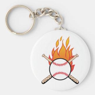 Baseball & Bats Basic Round Button Keychain