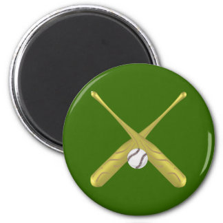 Baseball bats crossed with ball ~edit background magnet